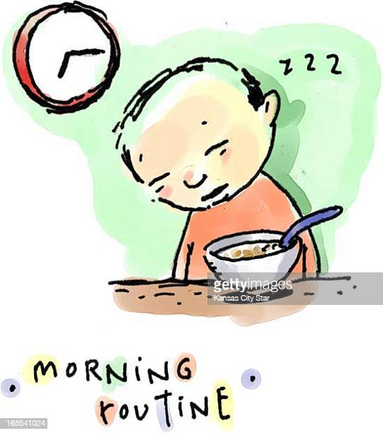Hector Casanova color illustration of young kid asleep at table in front of breakfast bowl titled 'Morning routine'