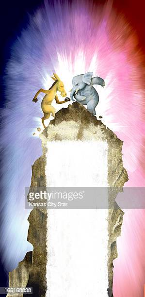 Hector Casanova fullpage illustration of the Democrat donkey fighting it out with the Republican elephant on top of the so called 'fiscal cliff'...