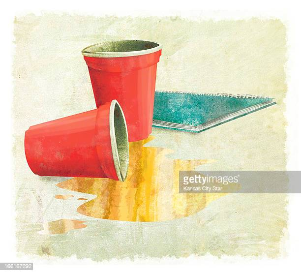 Hector Casanova illustration of beer spilled from cups next to spiral notebook can be used with stories about alcoholic teens
