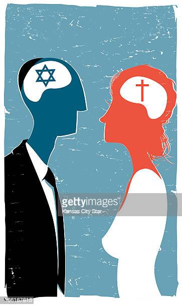 Hector Casanova illustration of Jewish groom Christian bride can be used with stories about interfaith marriages