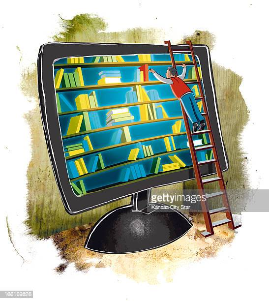 Hector Casanova illustration of man on ladder selecting electronic books from a computer screen