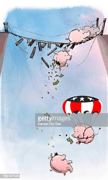 Hector Casanova illustration of piggybanks falling off a crumbling bridge but one is floating safely down under a USflag parachute can be used with...