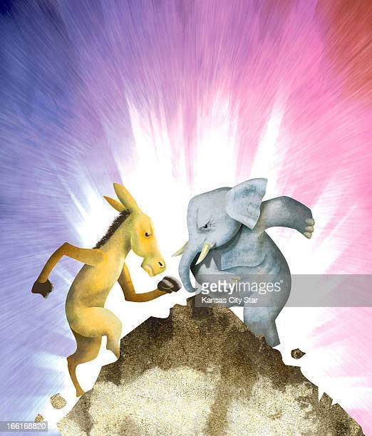 Hector Casanova illustration of the Democrat donkey fighting it out with the Republican elephant on top of the so called 'fiscal cliff'
