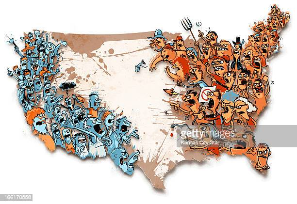 Hector Casanova illustration of US map with angry divided citizens on each coast
