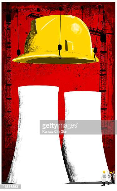 Hector Casanova illustration of yellow hard hat being lifted above nuclear power plant can be used with stories about nuclear safety