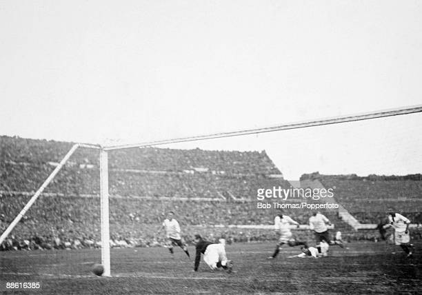Hector Castro scores Uruguay's winning goal in their FIFA World Cup match against Peru at the Estadio Centenario in Montevideo 18th July 1930 Uruguay...