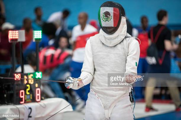 Hector Covarrubias of Mexico celebrates a touch in the Junior Men's Foil competition at the Cadet and Junior PanAmerican Fencing Championships on...