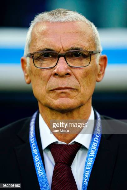Hector Cuper coach of Egypt looks on during the 2018 FIFA World Cup Russia group A match between Russia and Egypt at Saint Petersburg Stadium on June...