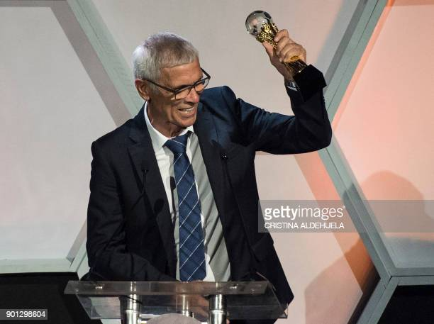 Hector Cuper coach of Egypt's football team reacts after receiving the award for the best coach of the year at the CAF 2017 at The Accra...
