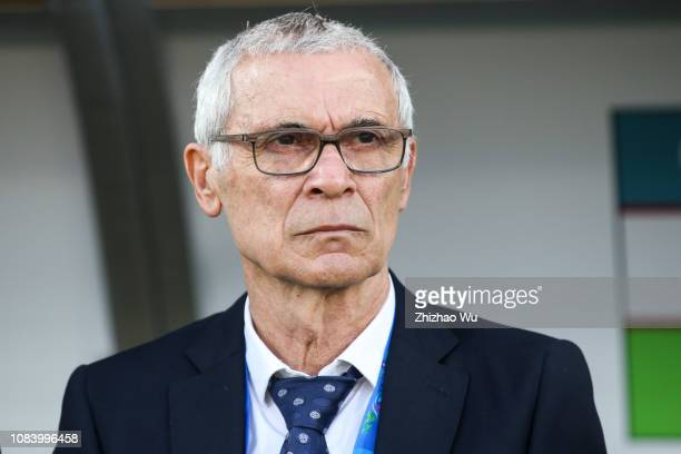 Hector Cuper coach of Uzbekistan looks on during the AFC Asian Cup Group F match between Japan and Uzbekistsn at Khalifa Bin Zayed Stadium on January...