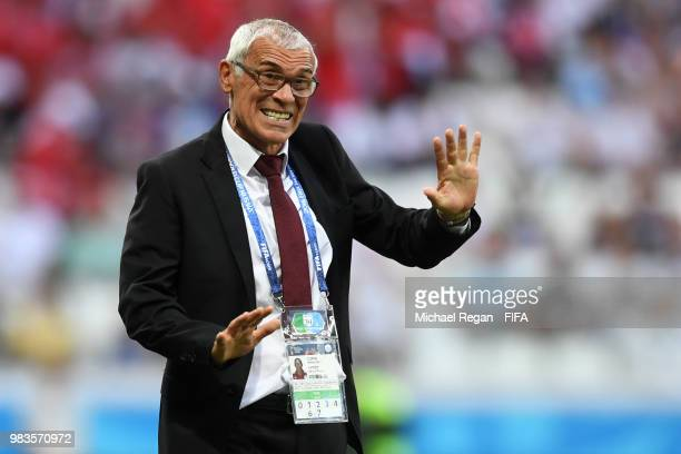 Hector Cuper, Head coach of Egypt gives his team instructions during the 2018 FIFA World Cup Russia group A match between Saudia Arabia and Egypt at...