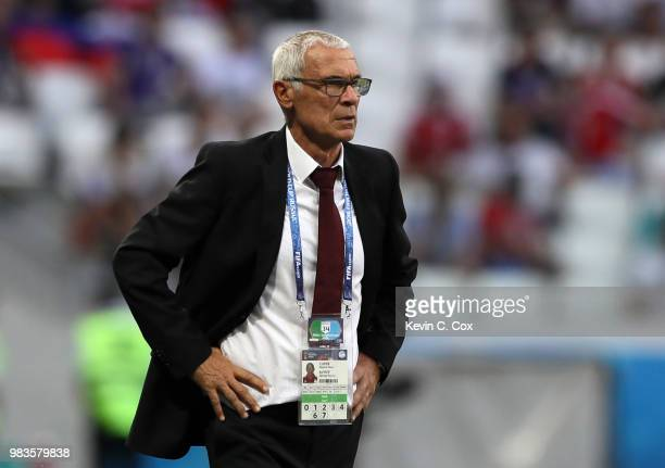 Hector Cuper, Head coach of Egypt looks on during the 2018 FIFA World Cup Russia group A match between Saudia Arabia and Egypt at Volgograd Arena on...