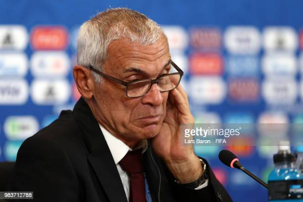 Hector Cuper, Head coach of Egypt looks on during the press conference after the 2018 FIFA World Cup Russia group A match between Saudia Arabia and...