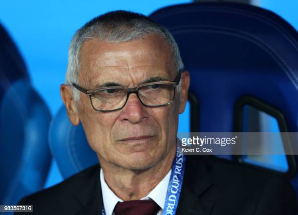 Hector Cuper, Head coach of Egypt looks on prior to the 2018 FIFA World Cup Russia group A match between Saudia Arabia and Egypt at Volgograd Arena...