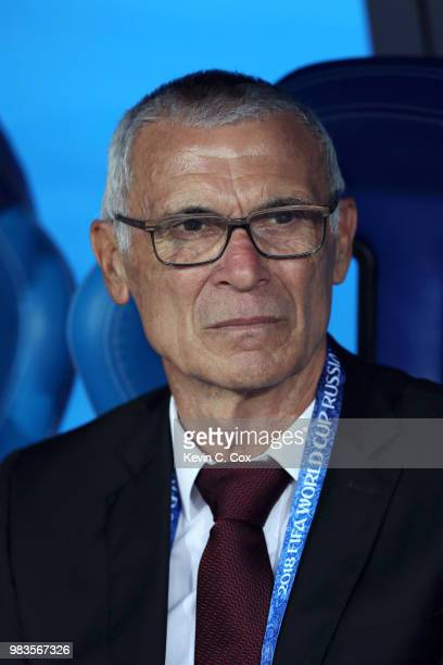Hector Cuper Head coach of Egypt looks on prior to the 2018 FIFA World Cup Russia group A match between Saudia Arabia and Egypt at Volgograd Arena on...