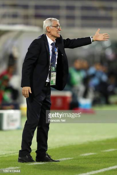 Hector Cuper Manager of Uzbekistan reacts during the AFC Asian Cup round of 16 match between Australia and Uzbekistan at Khalifa Bin Zayed Stadium on...