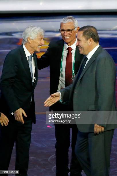 Hector Cuper of Egypt Jose Pekerman of Colombia and Nabil Maaloul of Tunisia are seen after the 2018 FIFA World Cup Russia Final Draw in the State...