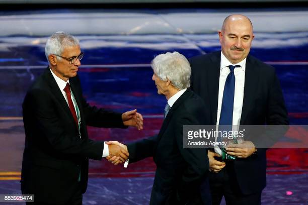 Hector Cuper of Egypt Jose Pekerman of Colombia and Stanislav Cherchesov of Russia are seen after the 2018 FIFA World Cup Russia Final Draw in the...