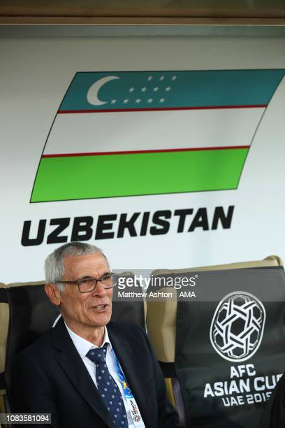 Hector Cuper the head coach / manager of Uzbekistan looks on prior to the AFC Asian Cup Group F match between Japan and Uzbekistsn at Khalifa Bin...