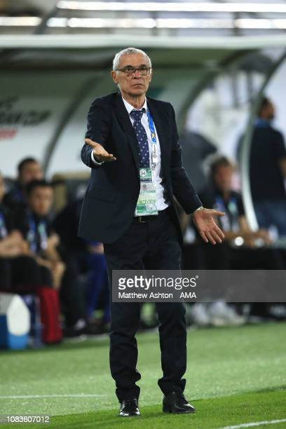 Hector Cuper the head coach / manager of Uzbekistan reacts during the AFC Asian Cup Group F match between Japan and Uzbekistsn at Khalifa Bin Zayed...