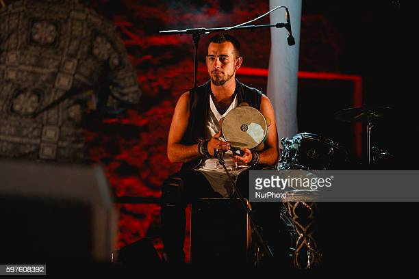 Hector el Turco percussion performs with Ara Malikian during the cultural summer nights at Cathedral square in Zamora northwest Spain on August 28...