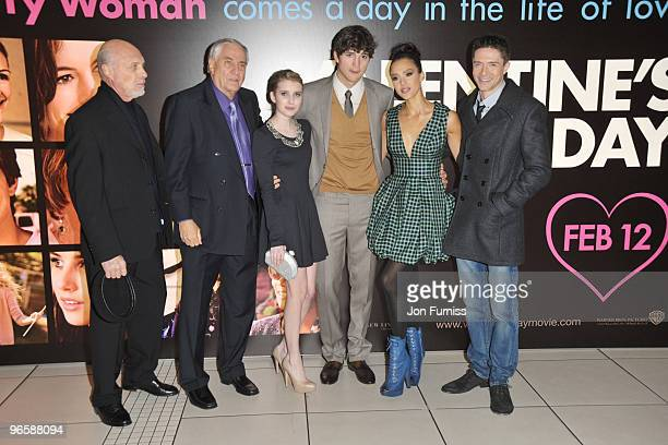 Hector Elizondo, Gerry Marshall, Emma Roberts, Ashton Kutcher, Jessica Alba and Topher Grace attend the European Premiere of 'Valentine's Day' at...
