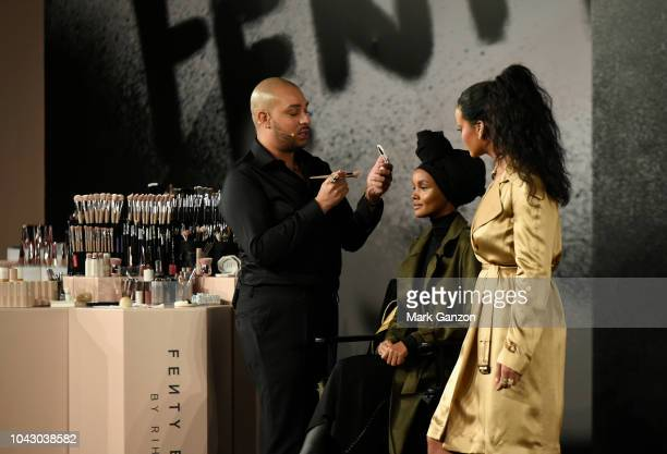 Hector Espinal Rihanna and Halima on stage during the Fenty Beauty Artistry and Beauty talk with Rihanna in collaboration with Sephora for the launch...