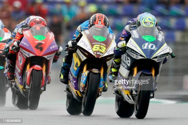 Hector Garzo of Span and SPA Tech 3 ERacing and Mike Di Meglio of Italy and EG 0 0 Marco VDS during the MotoGp of Austria MotorE Race at Red Bull...