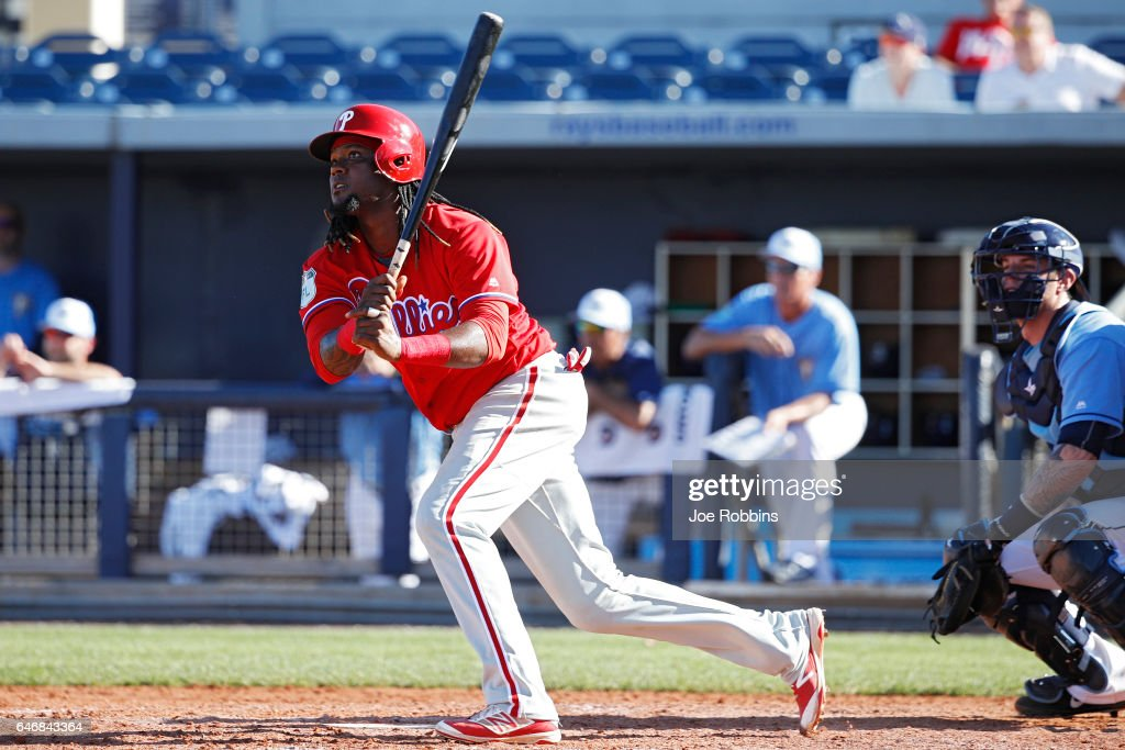 Hector Gomez #62 of the Philadelphia Phillies hits a double to left field to drive in the game-tying run against the Tampa Bay Rays in the ninth inning of a Grapefruit League spring training game at Charlotte Sports Park on March 1, 2017 in Port Charlotte, Florida. The game ended in a 5-5 tie.