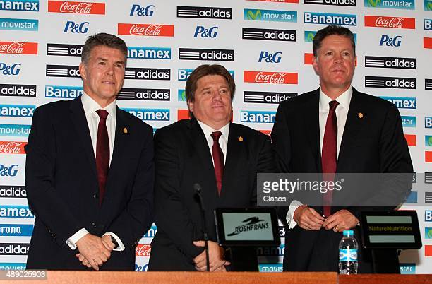 Hector Gonzalez Inarritu Mexico's National Team coach Miguel Herrera and Ricardo Pelaez pose for photos after the announcement of the final list of...