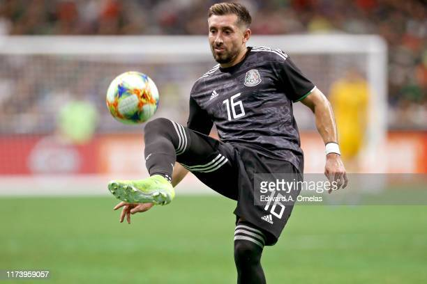 Hector Hererra of Mexico passes the ball during the International Friendly soccer match against Argentina, at the Alamodome on September 10, 2019 in...