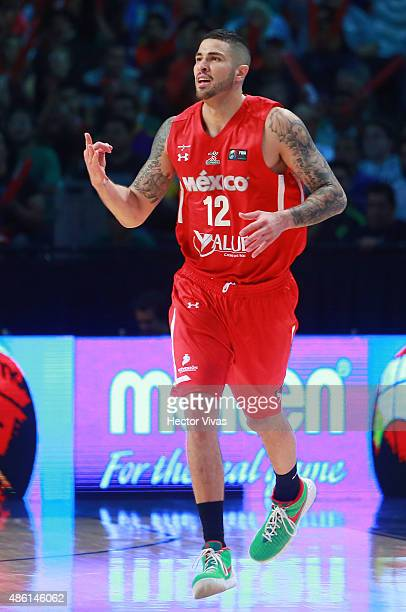 Hector Hernandez of Mexico reacts during a match between Mexico and Dominican Republic as part of the 2015 FIBA Americas Championship for Men at...