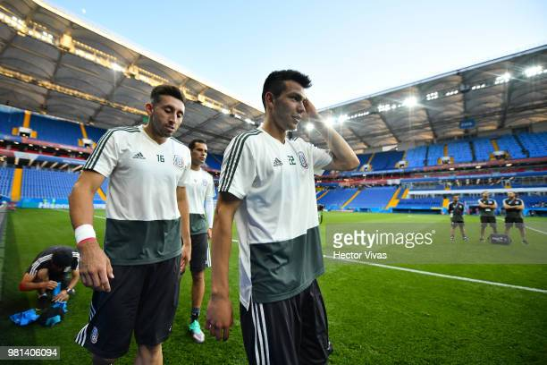 Hector Herrera and Hirving Lozano of Mexico look on during a training session ahead of the match against Korea as part of FIFA World Cup Russia 2018...
