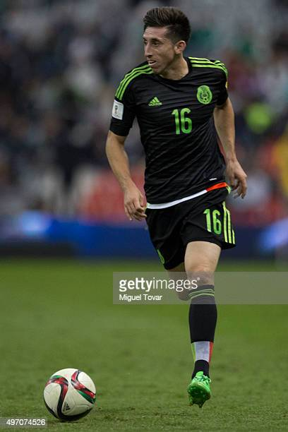 Hector Herrera drives the ball during the match between Mexico and El Salvador as part of the 2018 FIFA World Cup Qualifiers at Azteca Stadium on...