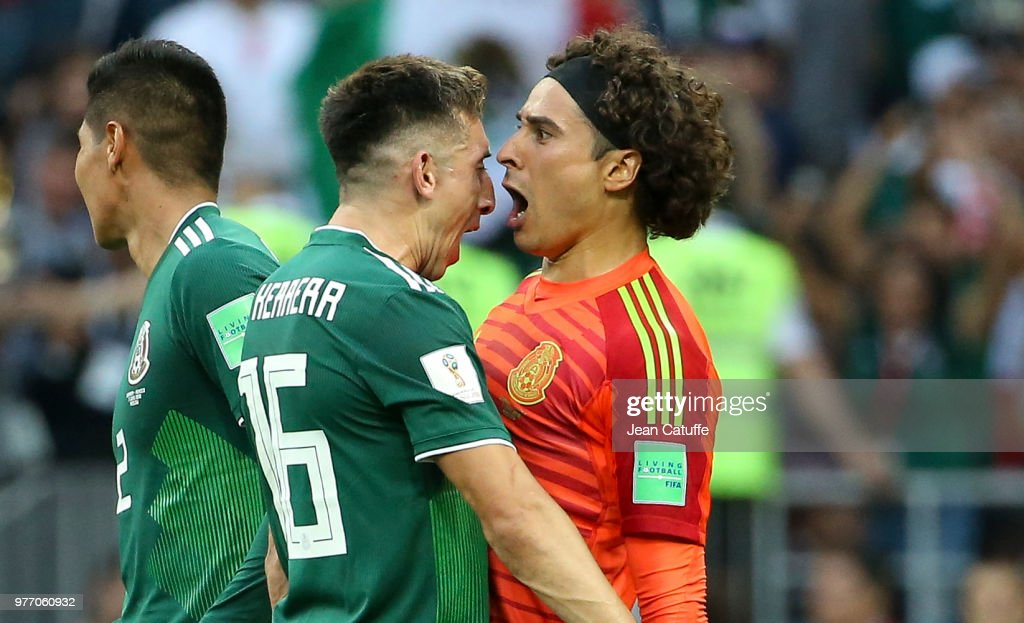 Hector Herrera, goalkeeper of Mexico Guillermo Ochoa celebrate the victory following the 2018 FIFA World Cup Russia group F match between Germany and Mexico at Luzhniki Stadium on June 17, 2018 in Moscow, Russia.