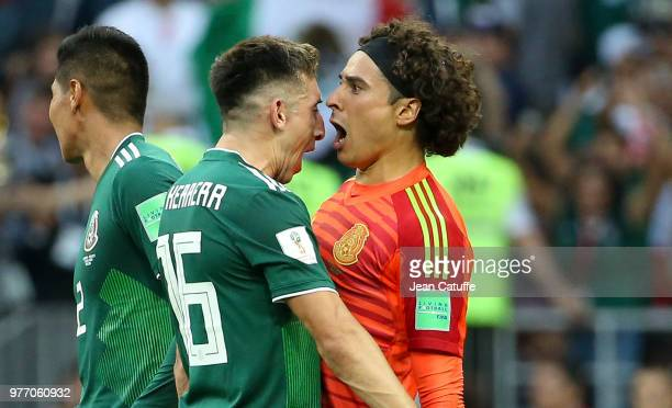 Hector Herrera goalkeeper of Mexico Guillermo Ochoa celebrate the victory following the 2018 FIFA World Cup Russia group F match between Germany and...