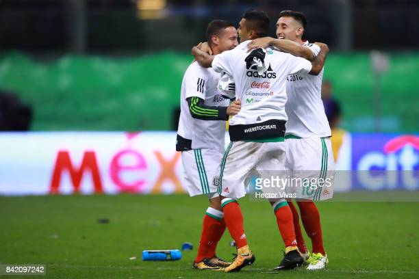 Hector Herrera Jesus Corona and Jesus Duenas of Mexico celebrate after winning the match between Mexico and Panama as part of the FIFA 2018 World Cup...