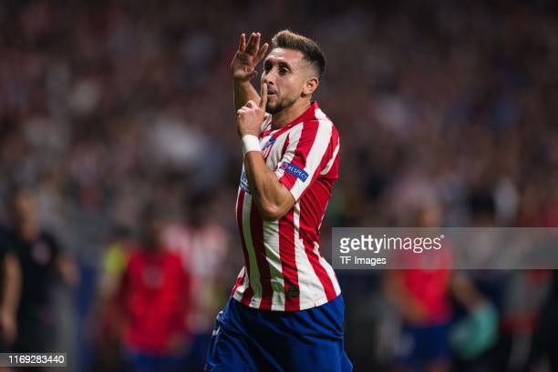 Hector Herrera of Atletico de Madrid celebrates his team's second goal during the UEFA Champions League group D match between Atletico Madrid and...