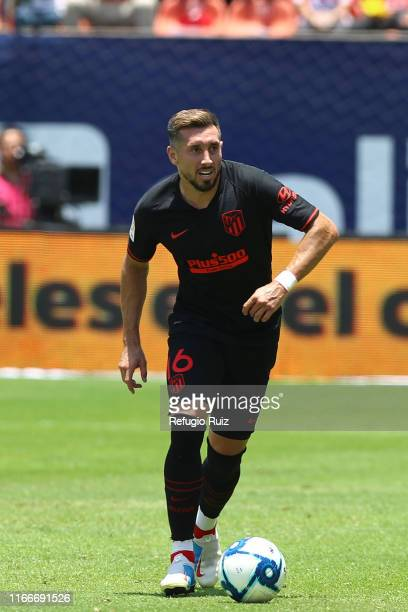 Hector Herrera of Atletico de Madrid drives the ball during the friendly match between Atletico San Luis and Atletico de Madrid at Estadio Alfonso...
