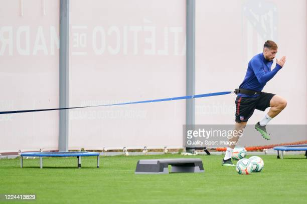 Hector Herrera of Atletico de Madrid in action during a training session at Estadio Cerro del Espino on May 12 2020 in Madrid Spain