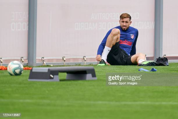 Hector Herrera of Atletico de Madrid looks on during a training session at Estadio Cerro del Espino on May 12 2020 in Madrid Spain