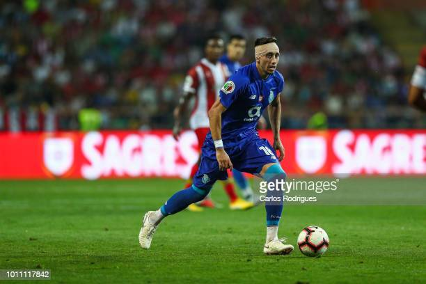 Hector Herrera of FC Porto during the match between FC Porto and Desportivo das Aves for the Portuguese Super Cup at Estadio Municipal de Aveiro on...