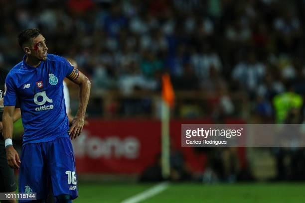 Hector Herrera of FC Porto during the match between FC Porto and Desportivo das Aves for the Portuguese Super Cup at Estadio Municipal de Aveiro on...