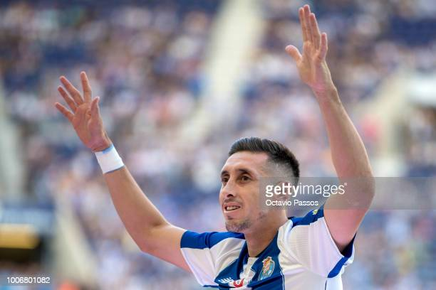 Hector Herrera of FC Porto during the team presentation prior to the preseason friendly match between FC Porto and Newcastle at Estádio do Drago on...