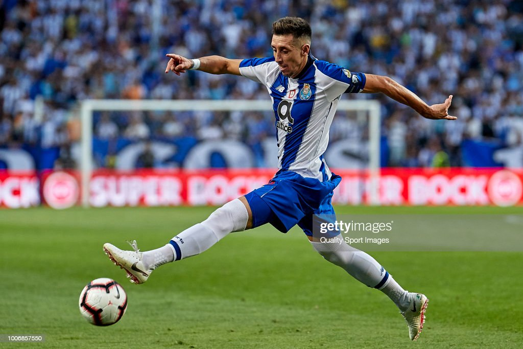 Hector Herrera of FC Porto in action during the Pre-season friendly match between FC Porto and Newcastle at Estadio do Dragao on July 28, 2018 in Porto, Portugal.