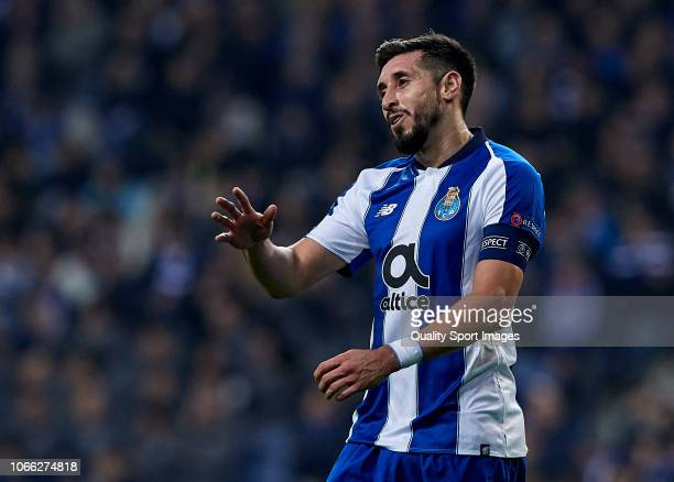 Hector Herrera of FC Porto reacts during the Group D match of the UEFA Champions League between FC Porto and FC Schalke 04 at Estadio do Dragao on...