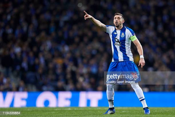 Hector Herrera of FC Porto reacts during the UEFA Champions League Round of 16 Second Leg match between FC Porto and AS Roma at Estadio do Dragao on...