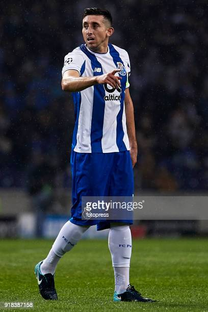 Hector Herrera of FC Porto reacts during the UEFA Champions League Round of 16 First Leg match between FC Porto and Liverpool FC at Estadio do Dragao...