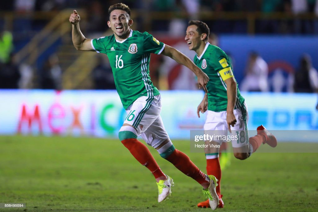 Hector Herrera of Mexico celebrates after scoring the third goal of his team during the match between Mexico and Trinidad & Tobago as part of the FIFA 2018 World Cup Qualifiers at Alfonso Lastras Stadium on October 6, 2017 in San Luis Potosi, Mexico.
