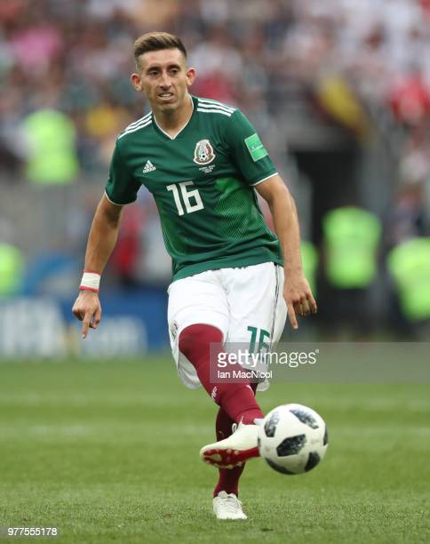 Hector Herrera of Mexico controls the ball during the 2018 FIFA World Cup Russia group F match between Germany and Mexico at Luzhniki Stadium on June...